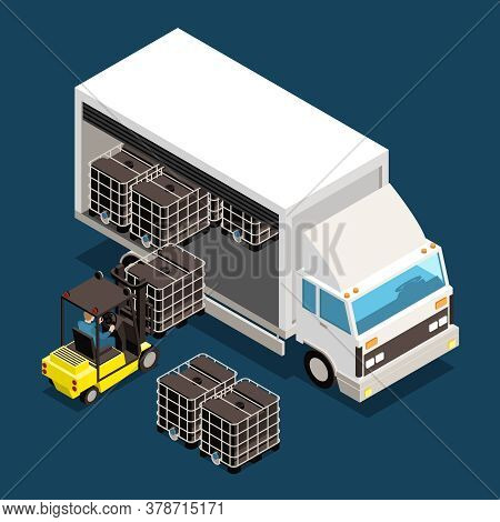 Logistics Custom Isometric Colored Composition And Cargo Loaded In A Big Truck Vector Illustration