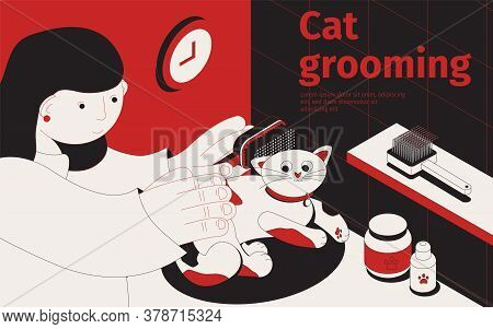 Car Grooming Isometric Background With Female Human Character Touching Cartoon Cat With Combs And Ed
