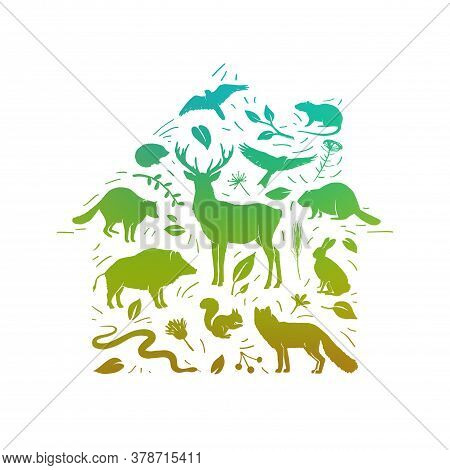 Vector Forest Animals Set. Home For Wild Animal. Flat Animals Silhouettes In Green Colors. World Ani