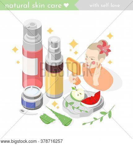 Face Skin Care Isometric Composition With Woman Applying Rejuvenating Cream Moisturizing Lotion Natu