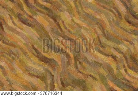 Brown Waves Bristle Brush Abstract Paint Background.