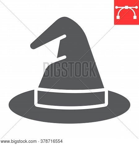 Witch Hat Glyph Icon, Halloween And Scary, Wizard Hat Sign Vector Graphics, Editable Stroke Solid Ic