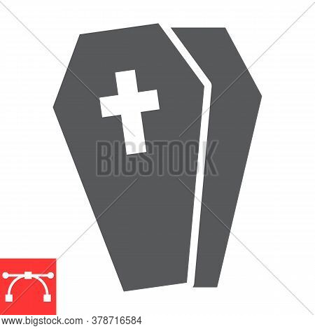 Coffin Glyph Icon, Halloween And Scary, Casket Sign Vector Graphics, Editable Stroke Solid Icon, Eps