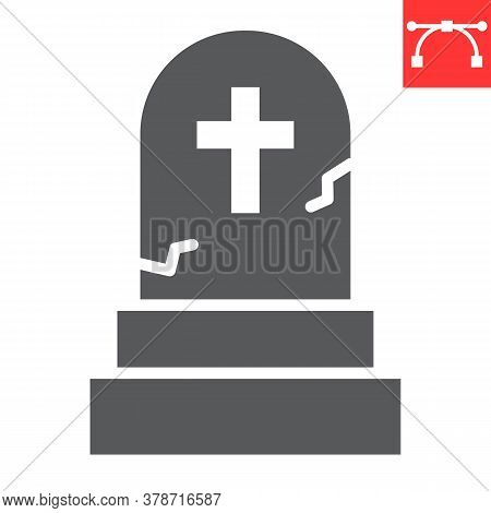 Gravestone Glyph Icon, Halloween And Scary, Tombstone Sign Vector Graphics, Editable Stroke Solid Ic