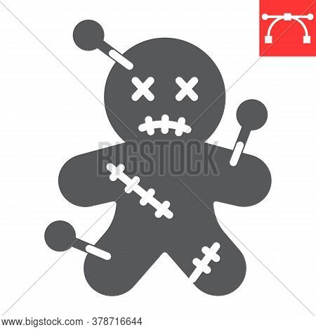 Voodoo Doll Glyph Icon, Halloween And Scary, Voodoo Doll Sign Vector Graphics, Editable Stroke Solid