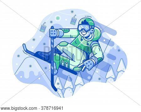 Line Cheerful Skier Man Jumping On Mountain