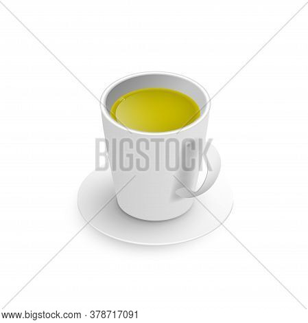 Realistic 3d Cup Of Hot Aromatic Freshly Brewed Drink Green Tea. A Teacup Isometric View Isolated On