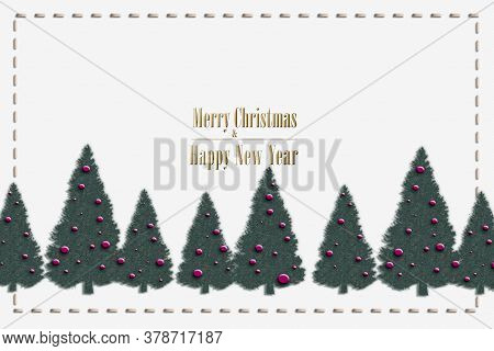 Elegant Stylish Christmas Card On White Background With Tree, Gold Text Merry Christmas And Happy Ne