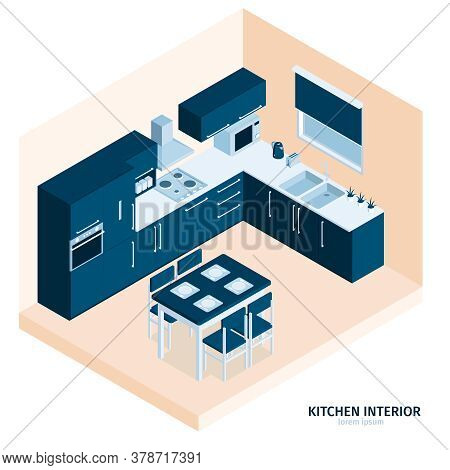 Isometric Kitchen Composition With Text And Indoor View Of Dining Place With Stove Kitchenware And C