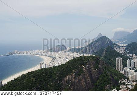 Rio De Janeiro; Brazil - February, 12, 2019: Aerial View Over Copacabana Beach From Sugarloaf Mounta