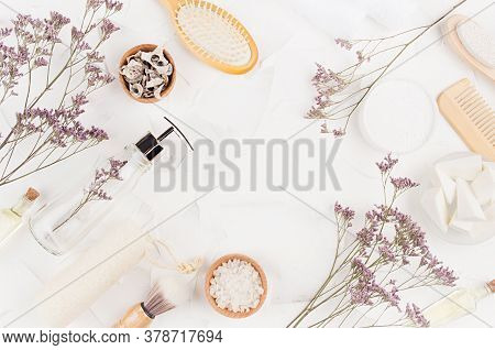 Natural Beige Cosmetics Accessories And Product For Bathroom With Dry Lavender Twigs On White Backgr