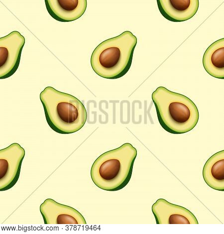 Seamless Pattern Of Realistic Green Avocado For Healthy Eating. 3d Render. Sliced Avocado In Half Wi