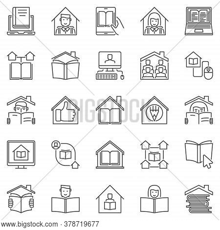 Homeschooling Outline Icons Set. Vector Home Education And Studying At Home Online Concept Symbols