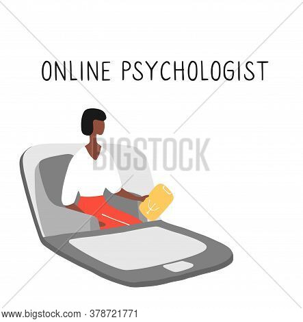 Online Psychotherapy Practice. Remote Psychological Help, Psychiatrist Consulting Patient. Mental He