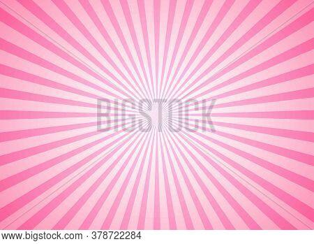 Sunlight Horizontal Background. Pink Color Burst Background. Vector Illustration.