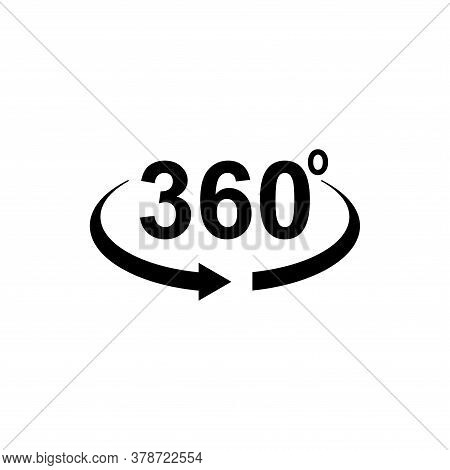 360 Degrees Icon On White Background. Flat Style. 360 Degrees Sign. Rotate 360 Degress Icon For Your