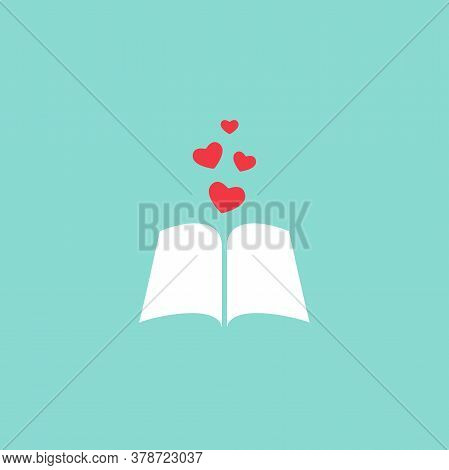 Open Book With Red Cover And Red Hearts Flying Out. Isolated On Blue Background. Bibliophile Flat Ic