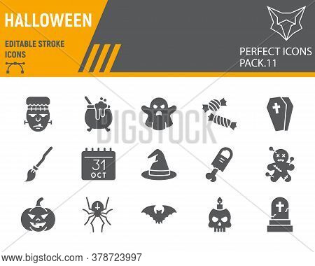 Halloween Glyph Icon Set, Holiday Symbols Collection, Vector Sketches, Logo Illustrations, Halloween
