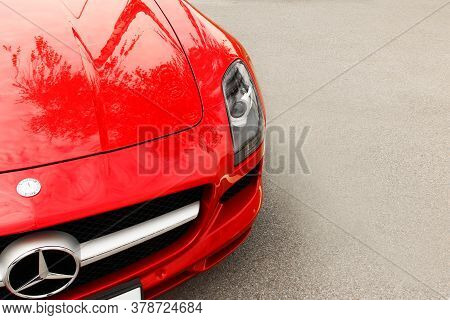 Kiev, Ukraine - May 19, 2020: Luxury Supercar Mercedes-benz Sls Amg In The City. Wallpaper. For Sale