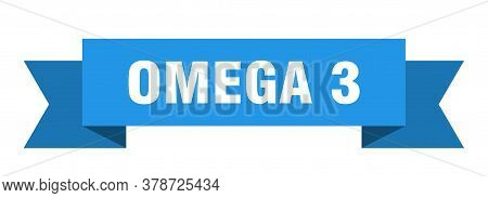 Omega 3 Ribbon. Omega 3 Isolated Band Blue Sign