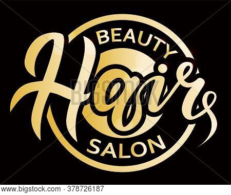 Concept Logo For Haircut Salon Or Studio; Hair Lettering Gold Text; Brand Name Vector Illustration