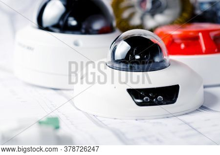 Cctv Camera Security System. Video Security Equipment . Soft Focus Photo Good For Security Service E