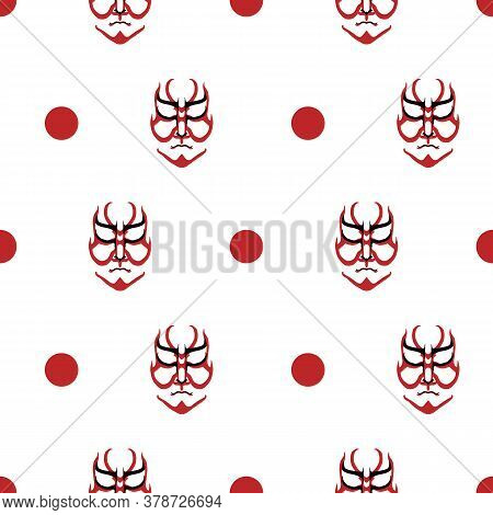 Vector Japanese Drama Kabuki Face Seamless Pattern Background. Red And Black Theatre Mask And Dots O