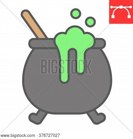 Witch Cauldron Color Line Icon, Halloween And Scary, Witch Pot Sign Vector Graphics, Editable Stroke