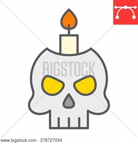 Skull With Candle Color Line Icon, Halloween And Scary, Halloween Skull Sign Vector Graphics, Editab