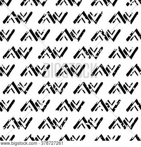 Vector Loose Tribal Zig Zag Grunge Seamless Pattern Background. Painterly Brush Stroke Chevrons Ethn