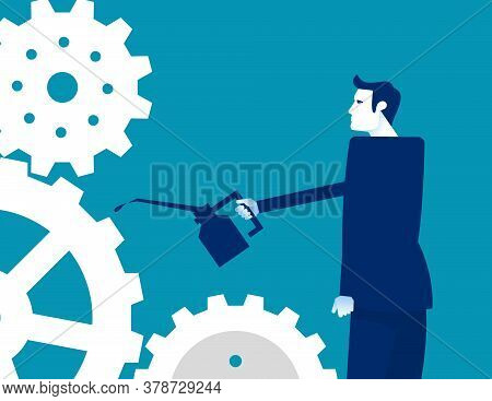 Lubricating Gears. Oiling The Gears Concept. Flat Cartoon Vector Illustration