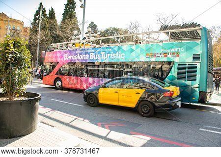 Barcelona, Spain - February 23, 2019: Tourist Bus In Barcelona, Spain. Barcelona Bus Turistic Is A T