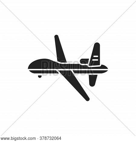 Military Drone Automatic Unmanned Control Black Glyph Icon. Army Aircraft For Intelligence And Attac