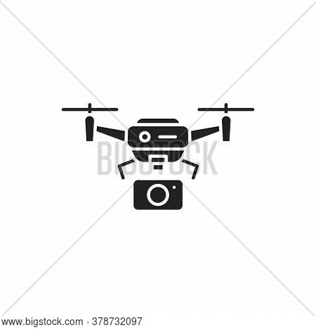 Drone With Camera Automatic Unmanned Control Black Glyph Icon. Aircraft Device Concept. Video Survei