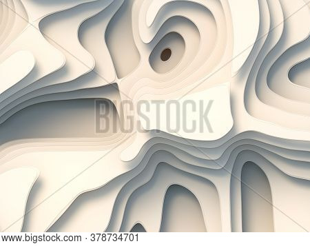 3d Rendering Wave Bends White Flowing Surface. Topography Map Concept. Computer Generated Geometric