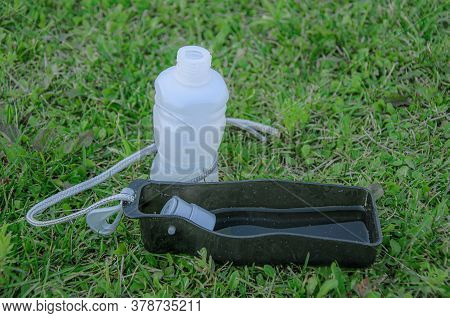 Portable Pet Water Bottle For Dog And Cat On Green Grass. Outdoor Pet Water Dispenser. Accessories F