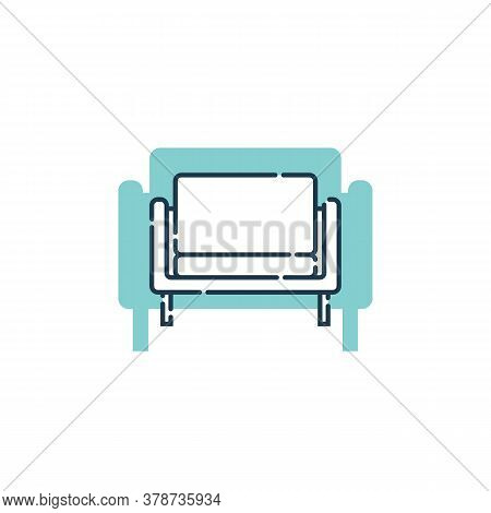Comfortable Sofa With One Pillow. Flat Illustration With Settee On Shape Background. Modern Stylish