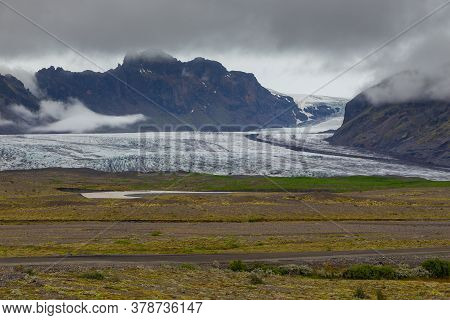View Of The Skaftafell Glacier In The Vatnajokull National Park. Southeast Iceland.
