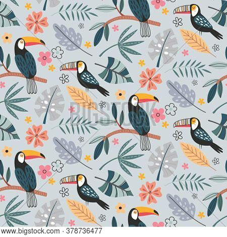 Cute Vector Seamless Pattern With Exotic Birds, Parrot, Toucan And Tropical Plants.
