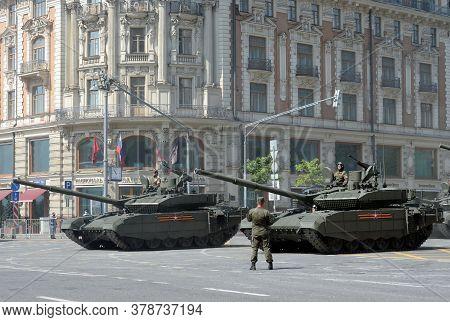 Moscow, Russia - June 20, 2020:russian Main Tank T-90m `breakthrough` On Tverskaya Street In Moscow
