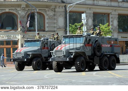 Moscow, Russia - June 20, 2020:soldiers Of The National Guard Troops On Ural-vv Armored Vehicles Dur