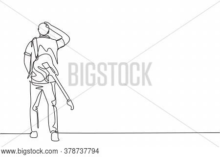 One Continuous Line Drawing Of Young Happy Male Rock Guitarist Walking While Carrying Electric Guita