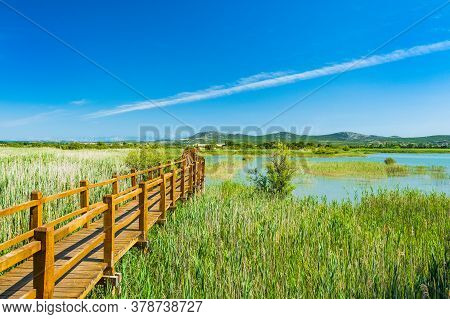 Beautiful Nature Park Vrana Lake (vransko Jezero), Dalmatia, Croatia, Wooden Path In Observation Par