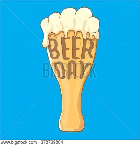 International Beer Day Squre Banner Or Poster With Beer Glass Isolated On Abstract Blue Background.