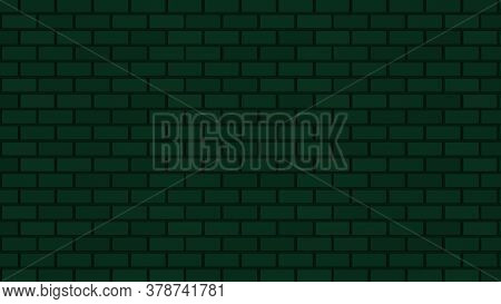 Empty Brick Wall With Green Neon Light Dim With Copy Space. Lighting Effect Green Color Glow On Bric
