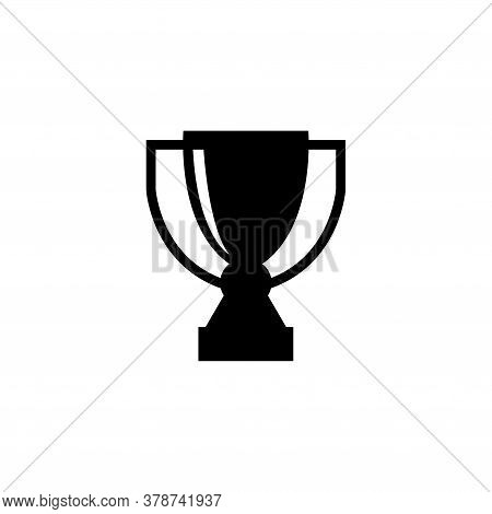 Gold Trophy Cup, Winner Award Prize. Flat Vector Icon Illustration. Simple Black Symbol On White Bac
