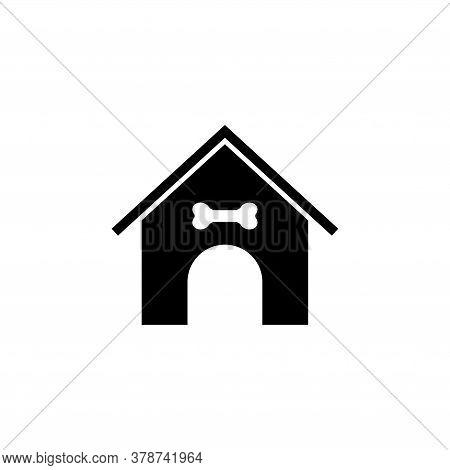 Doghouse, Dog Kennel, Animal House. Flat Vector Icon Illustration. Simple Black Symbol On White Back