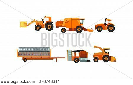 Agricultural Machinery Set, Industrial Farm Vehicles For Land Agricultural Processing Flat Style Vec