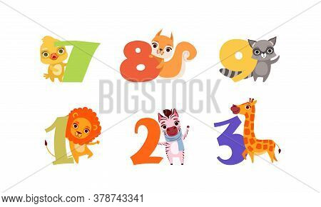 Anniversary Numbers With Cute Animals Set, Duckling, Squirrel, Raccoon, Lion, Zebra, Giraffe Cartoon