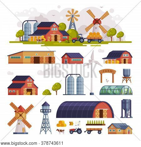 Rural Buildings And Agricultural Objects Set, Summer Farm Scene, Agriculture And Farming Concept Car